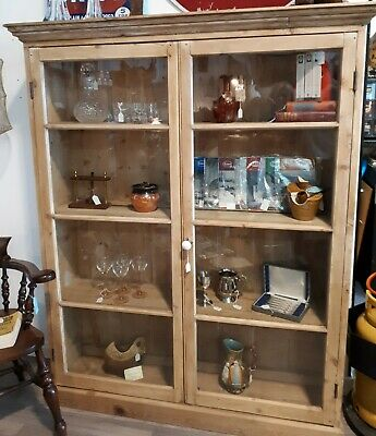 Large Victorian Stripped Pine Bookcase/Display Cabinet