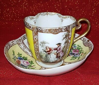 Antica Tazza Porcellana originale Meissen Quadrilobata piattino Miniature '700