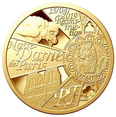 Francia France 50 Euro Gold Rebuild Notre Dame Of Paris Cathedral 2019 500 Only!