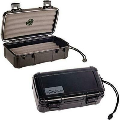 CIGAR CADDY Travel Cigar Humidor 10 Stick Case - MATTE BLACK - SHIPS FREE