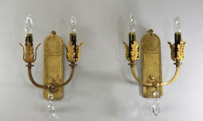 Pair Brass Vintage Neo Classical Two Socket Wall Sconces Crystal Drop