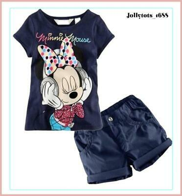 Brand New Girls Summer Top & Shorts Set MINNIE MOUSE Print T-Shirt Shorts Outfit