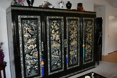 Black Oriental Mother of Pearl inlay chest/cabinet/armoire/wardrobe.