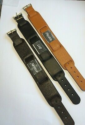 18mm Leather Pull Through Strap Military Style Cuff Watch Strap