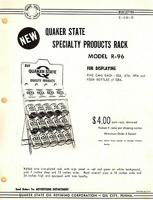 "Vintage AD 1960's QUAKER STATE ""HPA, SDA, ATA DISPLAY RACK"" Jobbers SELL SHEET"