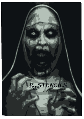 Multilayer STEP BY STEP airbrush stencil NUN HORROR 2