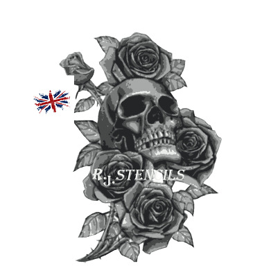 Multilayer step by step airbrush stencil Skull and roses 2