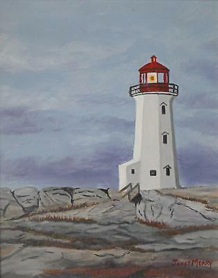 Janet Merry (20thC Canada) Peggys Point Lighthouse NovaScotia Oil Painting c1990