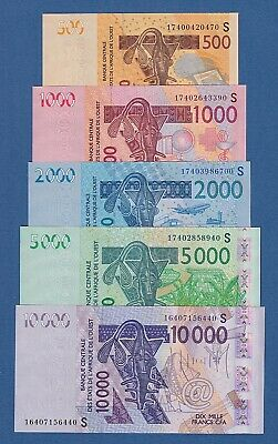 West African States -- Set Guinea Bissau 500-1000-2000-5000-10000 -- Unc - P.new
