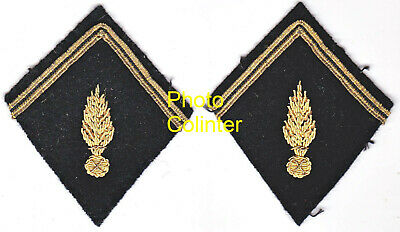 Ecussons de col  pour caban d'Officier Gendarmerie Mobile - cannetille Or