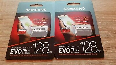 2x Samsung EVO Plus 128GB Class 10 MicroSDXC Card for Go Pro and other 4K