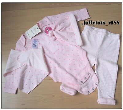 New Quality NEXT Baby Girls Outfit Pink 4 Piece Cotton Trouser Vest Hat Bib Set