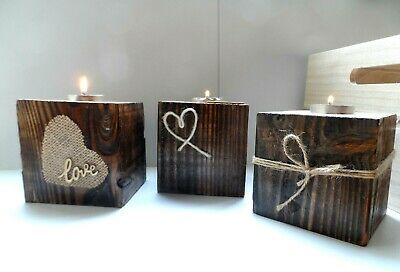 Vintage Style Light Candle Holder Wooden Shabby Gift Decorations Eco Handmade