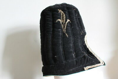 Vintage Traditional Tibetan Chinese Quilted Hat Textile Velvet