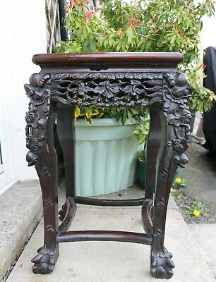Antique Chinese Jardiniere Rosewood Table / Marble Inset Top