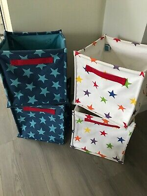 4 x Great Little Trading Company Canvas Folding Storage Cube Toy Box Star Print