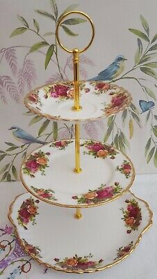 """Royal Albert """"Old Country Roses""""  3-tier cake stand"""
