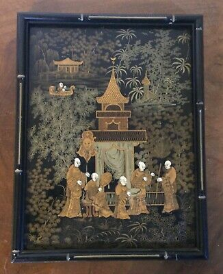 Antique Chinese Black & Gold Lacquer Framed Panel Court Figures Pagoda