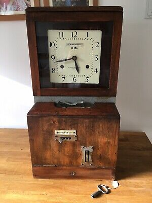 Blick International 1920's Clocking In Clock With Key Fully Working
