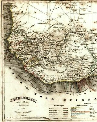 Senegal Gambia Guinea Sahara Desert West Africa Colonies 1849 Meyer antique map
