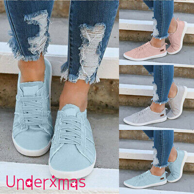 5c9f694698e Womens Slip On Canvas Flat Trainers Ladies Casual Loafers Plimsolls Pumps  Shoes