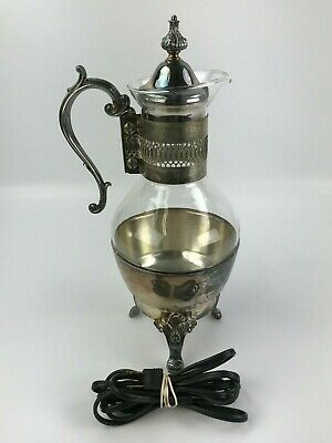 Newport Silverplate Ornate Vintage Glass Carafe Set With Footed Warmer Stand