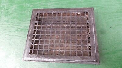 "Old Tin Floor Grille Heat Grate Register 12"" long x 10"" wide + Louvers"