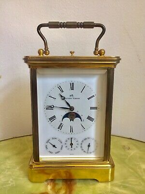 Vintage Matthew Norman Multi Dial Date And Calendar Alarm Carriage Clock