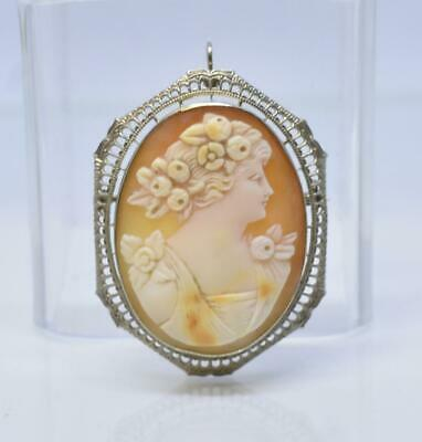 Antique Victorian Carved Shell Cameo 10K Brooch or Pendant