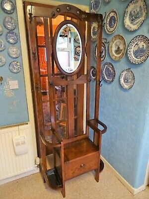 1920s 30s ENGLISH OAK HALL STAND OVAL BEVELLED MIRROR STICK BROLLY COAT HAT DECO