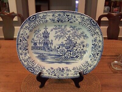 Antique Welsh Llanelly Pottery Blue and White Transfer Platter19th century.