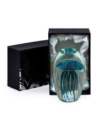 Large Turquoise Blue Glass Jellyfish Paperweight Gift Boxed Gift