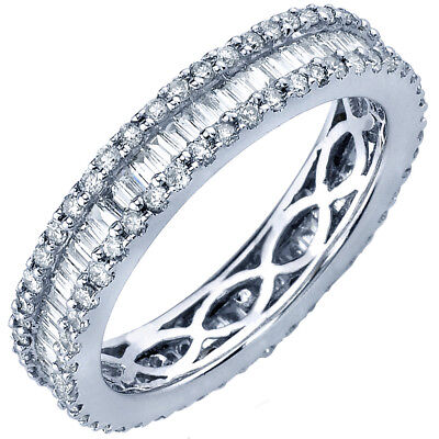 5.50 Carat Round and Baguette Shape Diamond 14K White Gold Eternity Bands