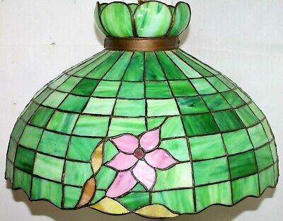 Antique 1920's Arts & Crafts Enormous Leaded Slag Glass Lamp W/ Paddle Switches