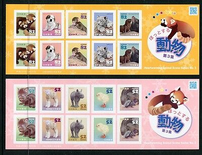 Japan 2015 Heartwarming Animals - Dog Cat Bird Sheets of 10 - Two Different, NH