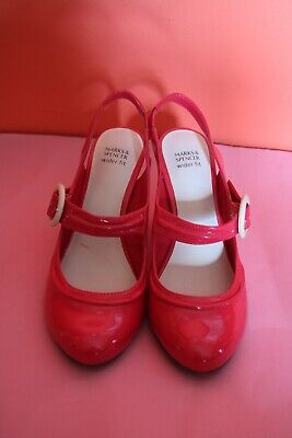 Marks & Spencer's Ladies shoes size 37, UK 4, red patent, Mary Janes 50s style