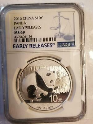 Sale$10 off 2016 China Silver Panda (30g)  NGC MS69 - Early Releases Blue #176