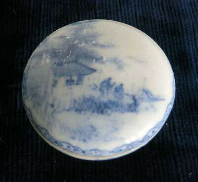 Antique Chinese hand painted porcelain blue and white ink pad box