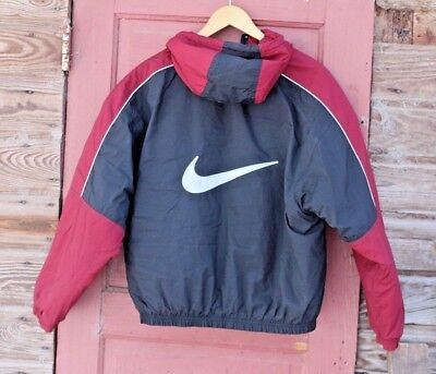f04d970598d Vintage NIKE coat Men's M cardinal red and black Lined jacket football  quilted