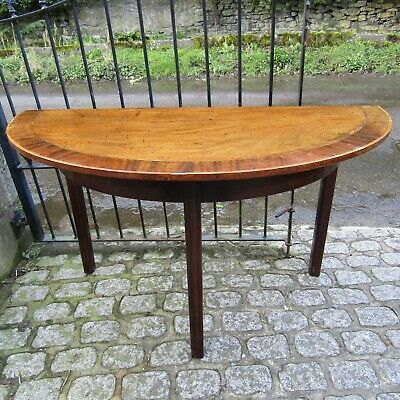 Antique D-end side hall table