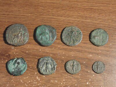 Lot of 8 Ancient Bronze Kushan Coins
