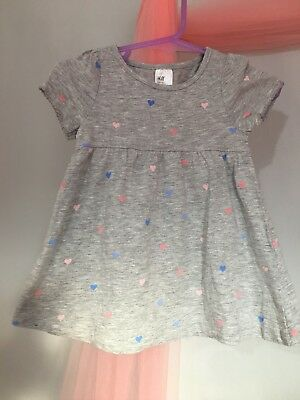 Cute Baby Girls H&M Grey Love heart Summer Dress 6-9m💙