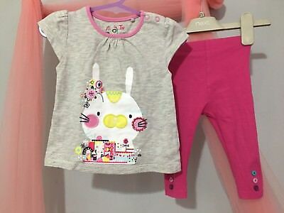 Cute Baby Girls TU Bunny Top & Leggings Summer Outfit 6-9m🎀