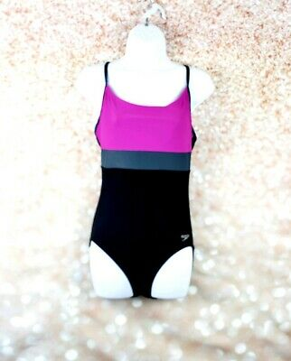 3890a0e95658d Speedo Women's One Piece Swimsuit Size 10 Modest Black Pink Lightly lined  cups