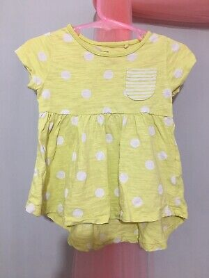 Cute Baby Girls Next Yellow Spotted Summer Top 6-9m🌼🌼