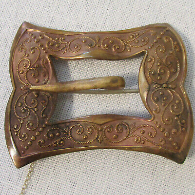 Antique Late 1800s Victorian Buckle Shaped Sash Pin Brooch with C Catch