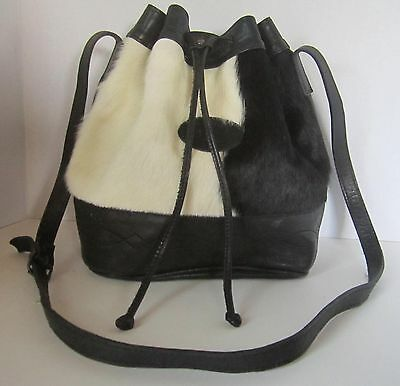 Vintage Sergios Collection Leather Satchel With Furry Front Panel