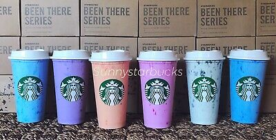 Starbucks Marbled Reusable Hot Cups-6 Cups With 6 Lids-Not Color Changing - RARE