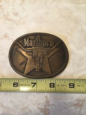 1987 Vintage Marlboro Tobacco Cigarettes Bull Head Star Belt Buckle Heavy Brass