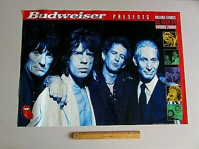 Rare Budweiser Rolling Stones Voodoo Lounge Tour 94' Poster Beer Banner sign Bar